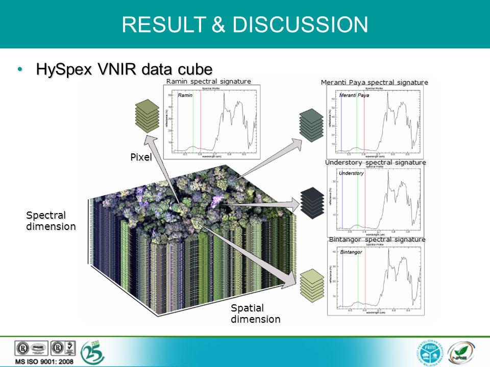 Spectral dimension Spatial dimension Pixel RESULT & DISCUSSION HySpex VNIR data cube HySpex VNIR data cube Ramin spectral signature Meranti Paya spectral signature Understory spectral signature Bintangor spectral signature