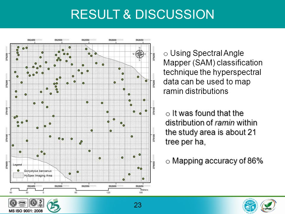 RESULT & DISCUSSION 23 o Using Spectral Angle Mapper (SAM) classification technique the hyperspectral data can be used to map ramin distributions o It was found that the distribution of ramin within the study area is about 21 tree per ha, o Mapping accuracy of 86%