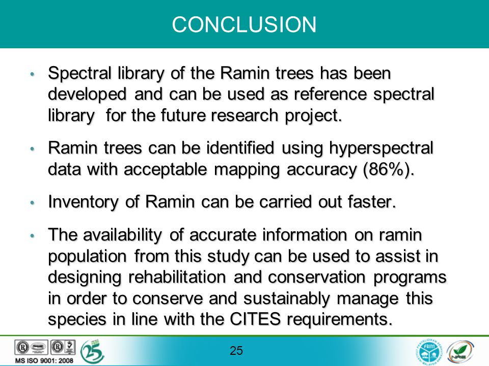 25 CONCLUSION Spectral library of the Ramin trees has been developed and can be used as reference spectral library for the future research project.