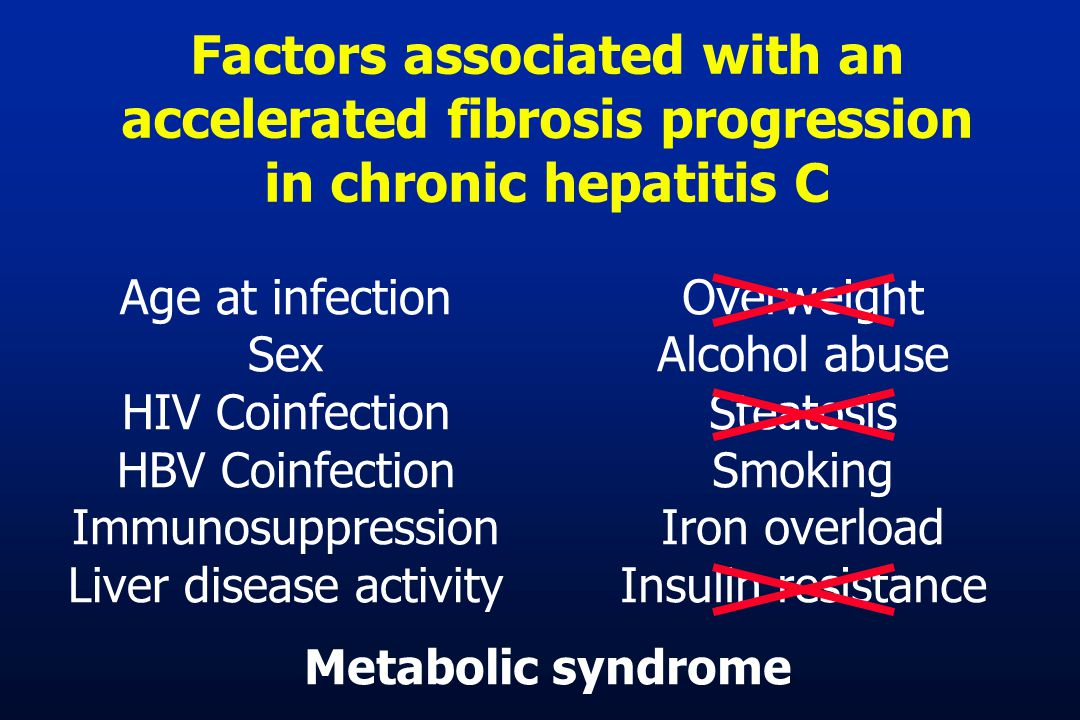 Factors associated with an accelerated fibrosis progression in chronic hepatitis C Age at infection Sex HIV Coinfection HBV Coinfection Immunosuppression Liver disease activity Overweight Alcohol abuse Steatosis Smoking Iron overload Insulin resistance Metabolic syndrome