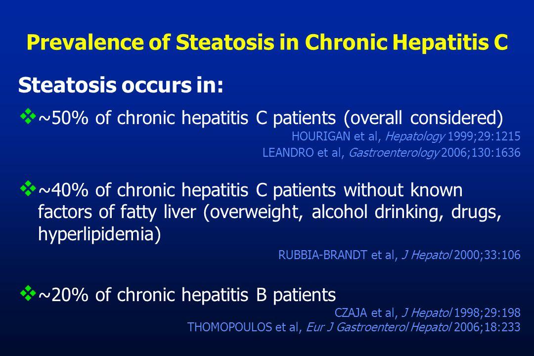 Prevalence of Steatosis in Chronic Hepatitis C Steatosis occurs in:  ~50% of chronic hepatitis C patients (overall considered) HOURIGAN et al, Hepato