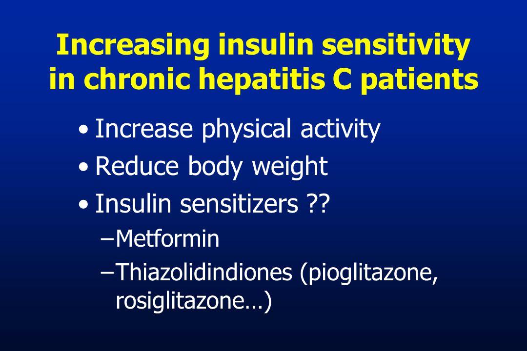 Increasing insulin sensitivity in chronic hepatitis C patients Increase physical activity Reduce body weight Insulin sensitizers ?? –Metformin –Thiazo