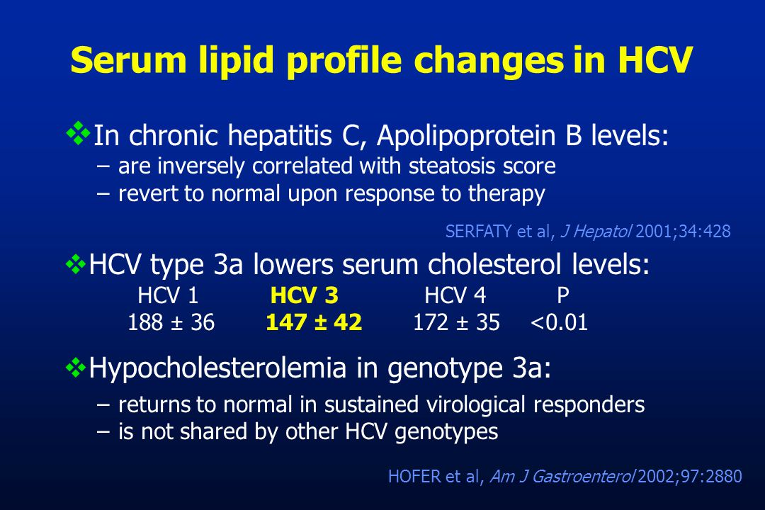 Serum lipid profile changes in HCV  In chronic hepatitis C, Apolipoprotein B levels: –are inversely correlated with steatosis score –revert to normal