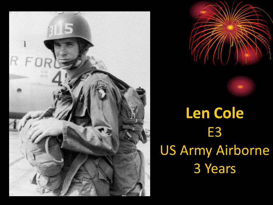 Len Cole E3 US Army Airborne 3 Years