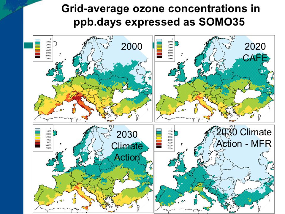 Grid-average ozone concentrations in ppb.days expressed as SOMO35 20002020 CAFE 2030 Climate Action - MFR 2030 Climate Action
