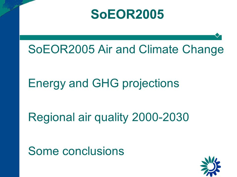 SoEOR2005 Air and Climate Change Energy and GHG projections Regional air quality 2000-2030 Some conclusions SoEOR2005