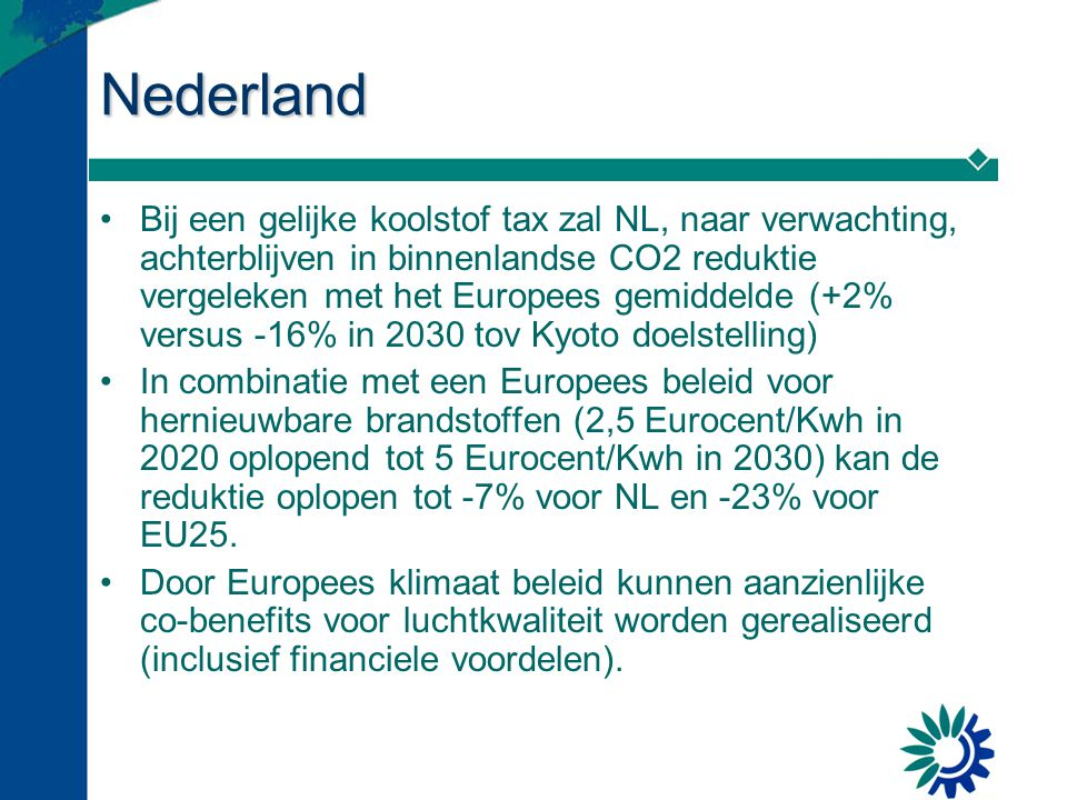 Nederland Bij een gelijke koolstof tax zal NL, naar verwachting, achterblijven in binnenlandse CO2 reduktie vergeleken met het Europees gemiddelde (+2% versus -16% in 2030 tov Kyoto doelstelling) In combinatie met een Europees beleid voor hernieuwbare brandstoffen (2,5 Eurocent/Kwh in 2020 oplopend tot 5 Eurocent/Kwh in 2030) kan de reduktie oplopen tot -7% voor NL en -23% voor EU25.