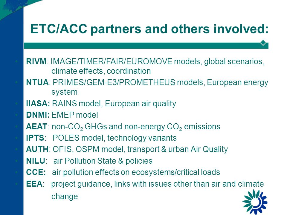 SoEOR2005: series of reports Climate change and a low-carbon European energy system European Environmental Outlook Main SoEOR2005 report (29 November 2005) Air quality and ancillary benefits of climate policy (December 2005?)