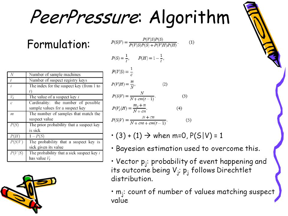 PeerPressure: Algorithm Formulation: (3) + (1)  when m=0, P(S|V) = 1 Bayesian estimation used to overcome this.