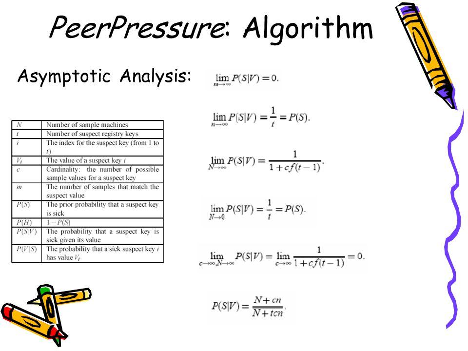 PeerPressure: Algorithm Asymptotic Analysis: