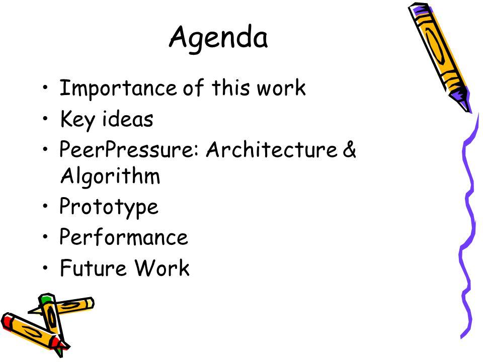 Agenda Importance of this work Key ideas PeerPressure: Architecture & Algorithm Prototype Performance Future Work