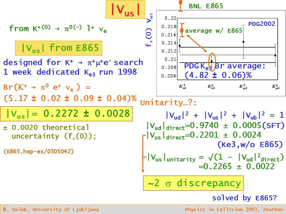 |V us | B. Golob, University of Ljubljana Physics in Collision 2003, Zeuthen |V us | from E865 designed for K + →  +  + e - search 1 week dedicated