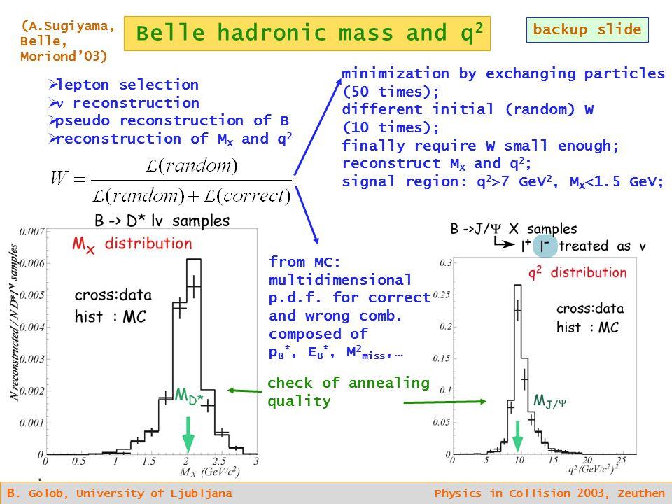 Belle hadronic mass and q 2 backup slide B.
