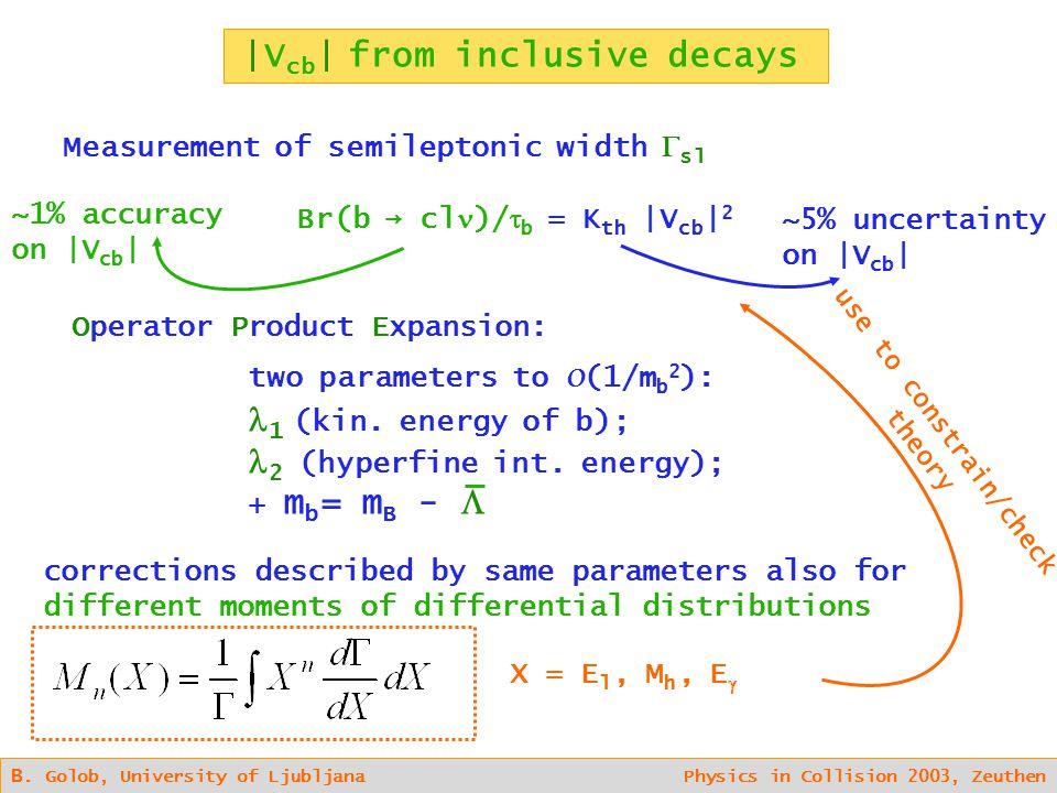B. Golob, University of Ljubljana Physics in Collision 2003, Zeuthen |V cb | from inclusive decays Measurement of semileptonic width  sl X = E l, M h