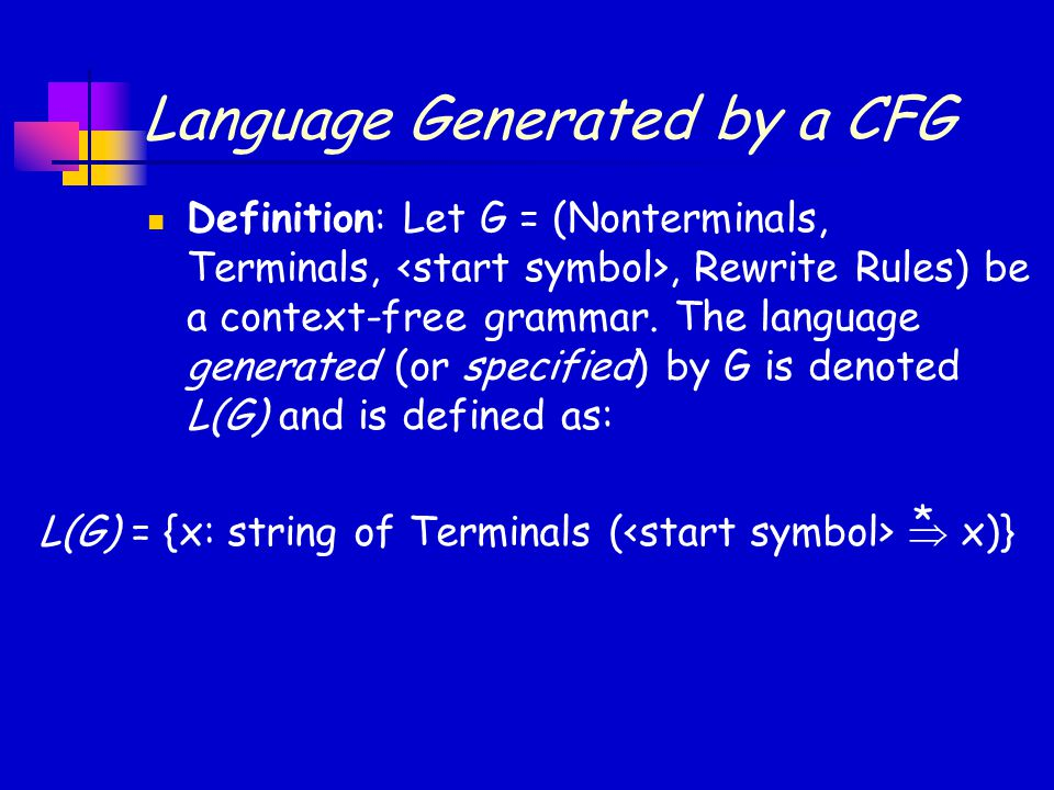 Language Generated by a CFG Definition: Let G = (Nonterminals, Terminals,, Rewrite Rules) be a context-free grammar. The language generated (or specif
