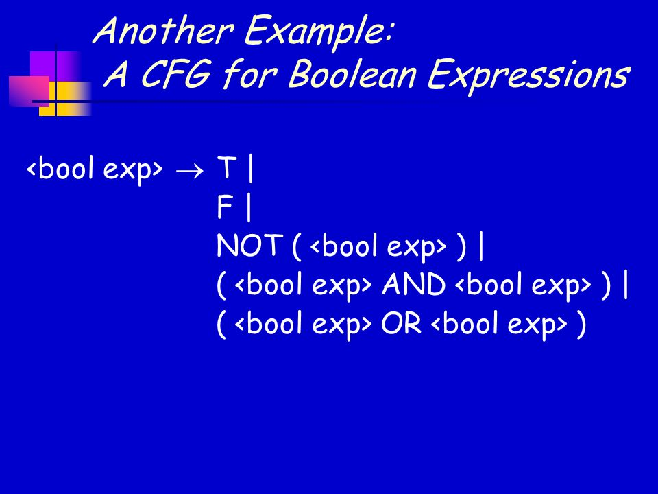 Another Example: A CFG for Boolean Expressions  T | F | NOT ( ) | ( AND ) | ( OR )