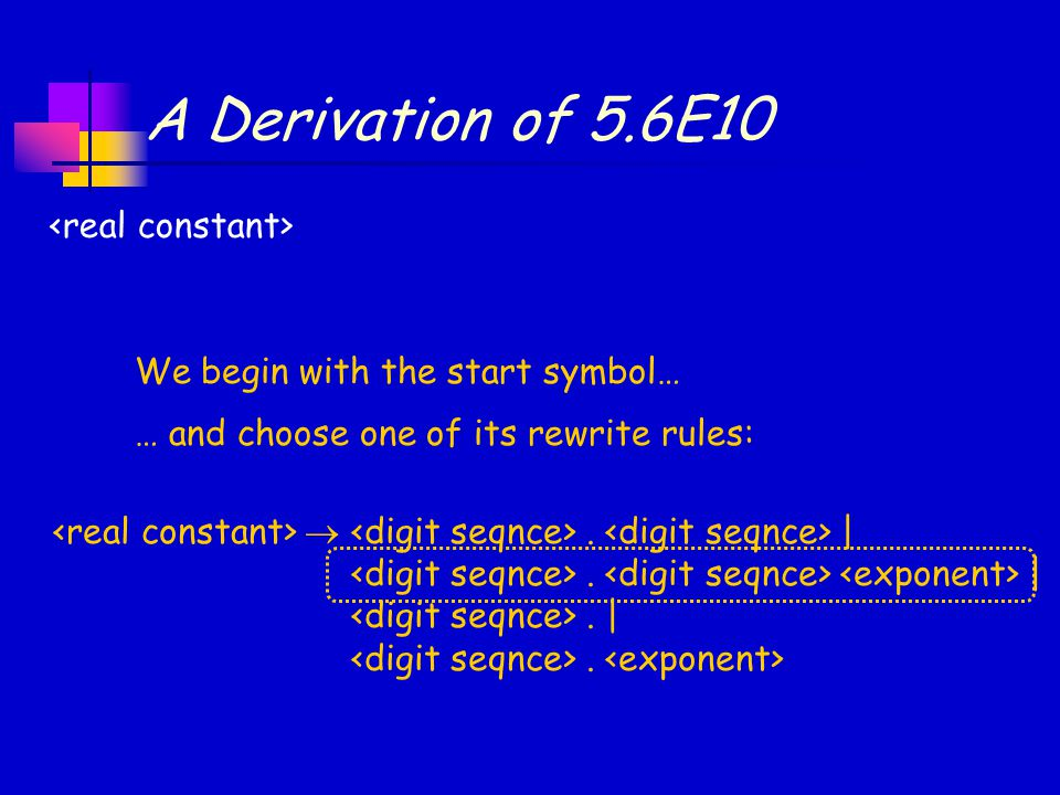 A Derivation of 5.6E10 We begin with the start symbol… … and choose one of its rewrite rules: .