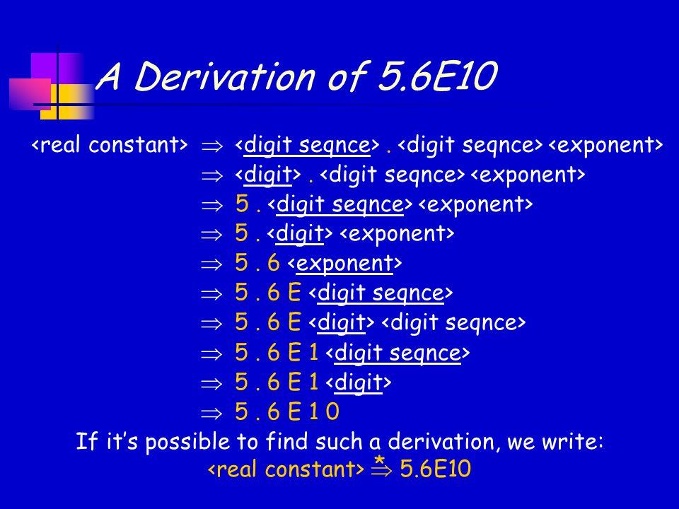 A Derivation of 5.6E10 .  5.  5. 6  5. 6 E  5. 6 E 1  5. 6 E 1 0 If it's possible to find such a derivation, we write:  5.6E10 *