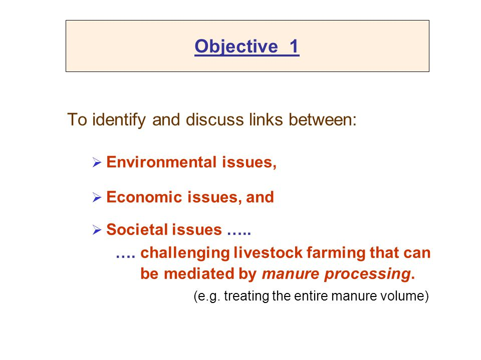 Objective 1 To identify and discuss links between:  Environmental issues,  Economic issues, and  Societal issues ….. …. challenging livestock farmi