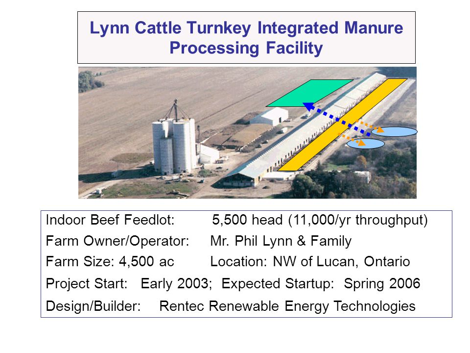 Lynn Cattle Turnkey Integrated Manure Processing Facility Indoor Beef Feedlot: 5,500 head (11,000/yr throughput) Farm Owner/Operator: Mr. Phil Lynn &