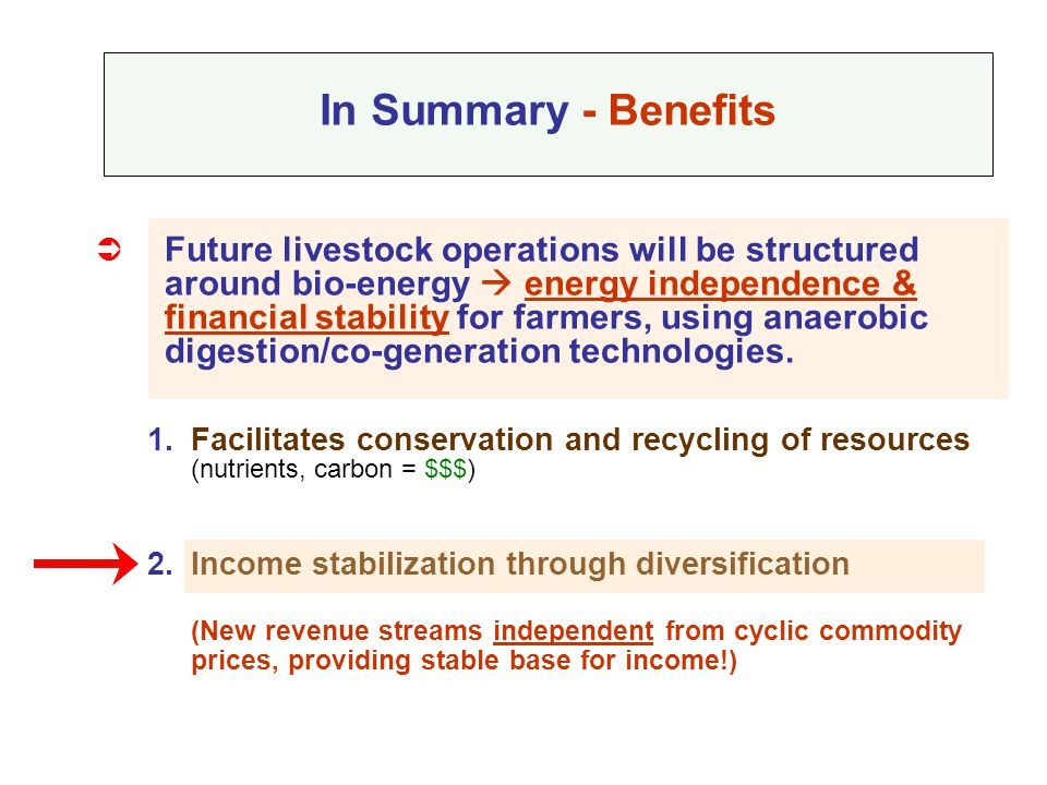  Future livestock operations will be structured around bio-energy  energy independence & financial stability for farmers, using anaerobic digestion/