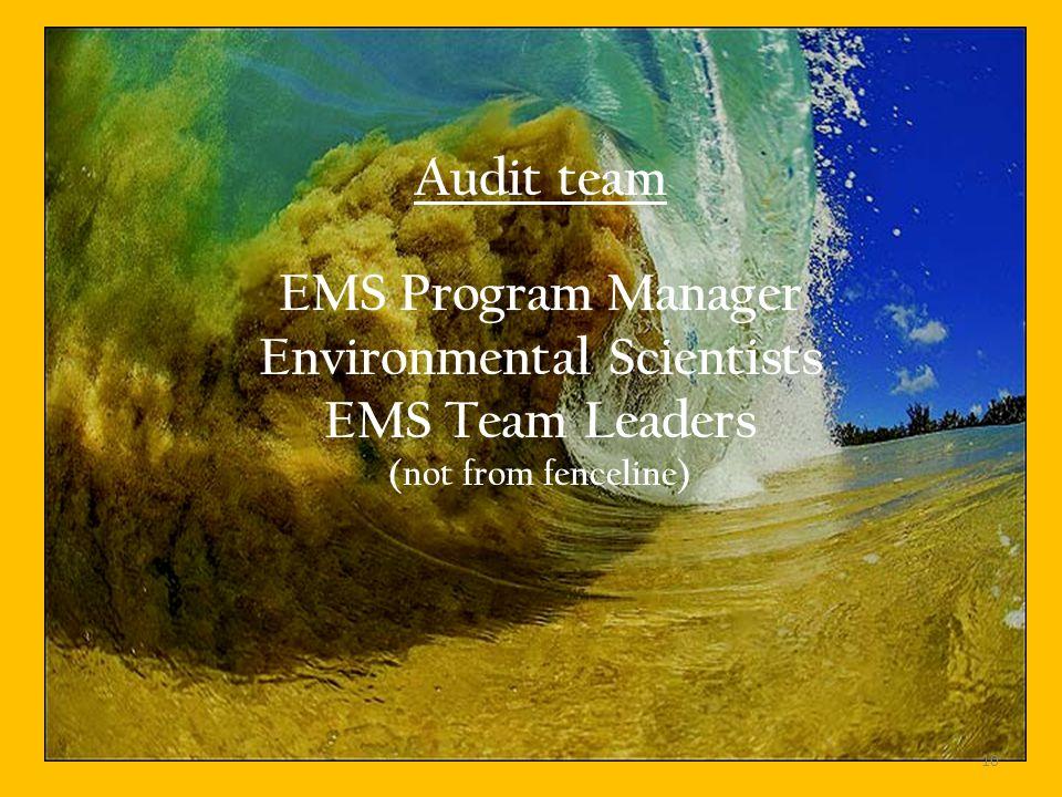Audit team EMS Program Manager Environmental Scientists EMS Team Leaders (not from fenceline) 10