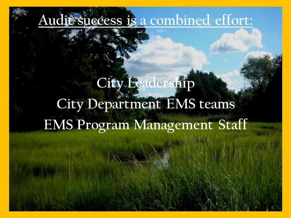 Audit success is a combined effort: City Leadership City Department EMS teams EMS Program Management Staff 5