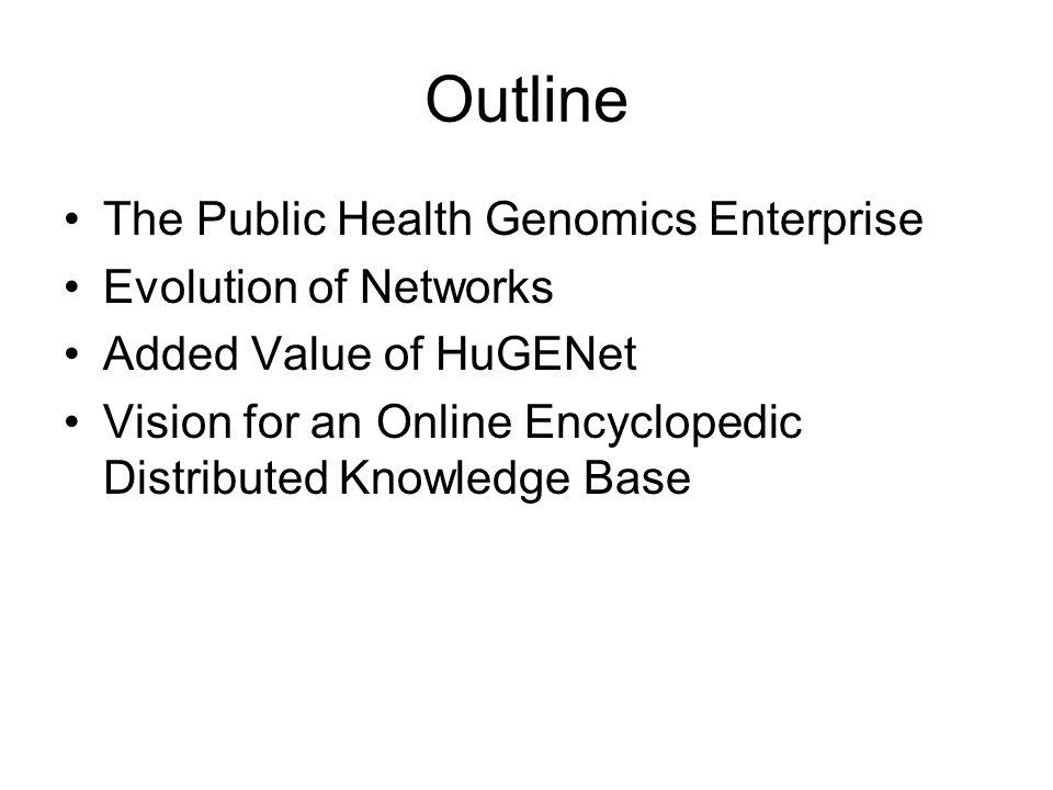 Outline The Public Health Genomics Enterprise Evolution of Networks Added Value of HuGENet Vision for an Online Encyclopedic Distributed Knowledge Base