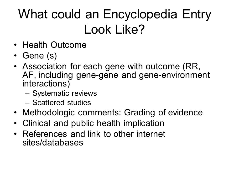 What could an Encyclopedia Entry Look Like.