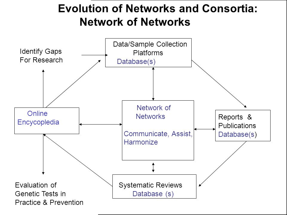 Data/Sample Collection Platforms Database(s) Reports & Publications Database(s) Systematic Reviews Database (s) Online Encycopledia Network of Networks Communicate, Assist, Harmonize Evaluation of Genetic Tests in Practice & Prevention Identify Gaps For Research Evolution of Networks and Consortia: Network of Networks