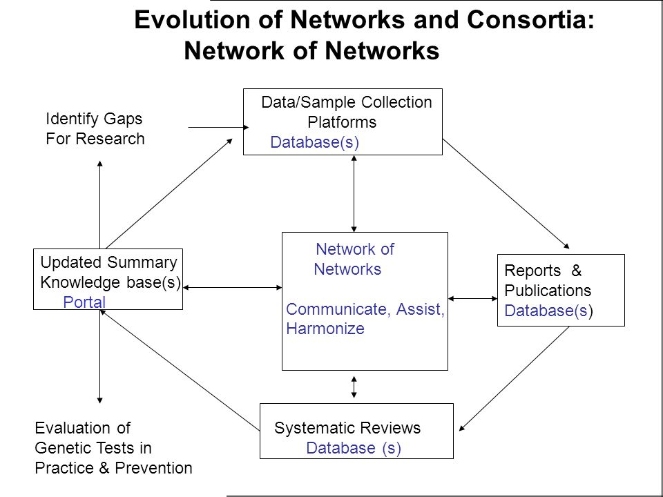 Data/Sample Collection Platforms Database(s) Reports & Publications Database(s) Systematic Reviews Database (s) Updated Summary Knowledge base(s) Portal Network of Networks Communicate, Assist, Harmonize Evaluation of Genetic Tests in Practice & Prevention Identify Gaps For Research Evolution of Networks and Consortia: Network of Networks