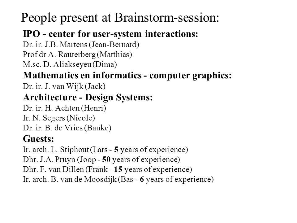 IPO - center for user-system interactions: Dr. ir. J.B. Martens (Jean-Bernard) Prof dr A. Rauterberg (Matthias) M.sc. D. Aliakseyeu (Dima) Mathematics