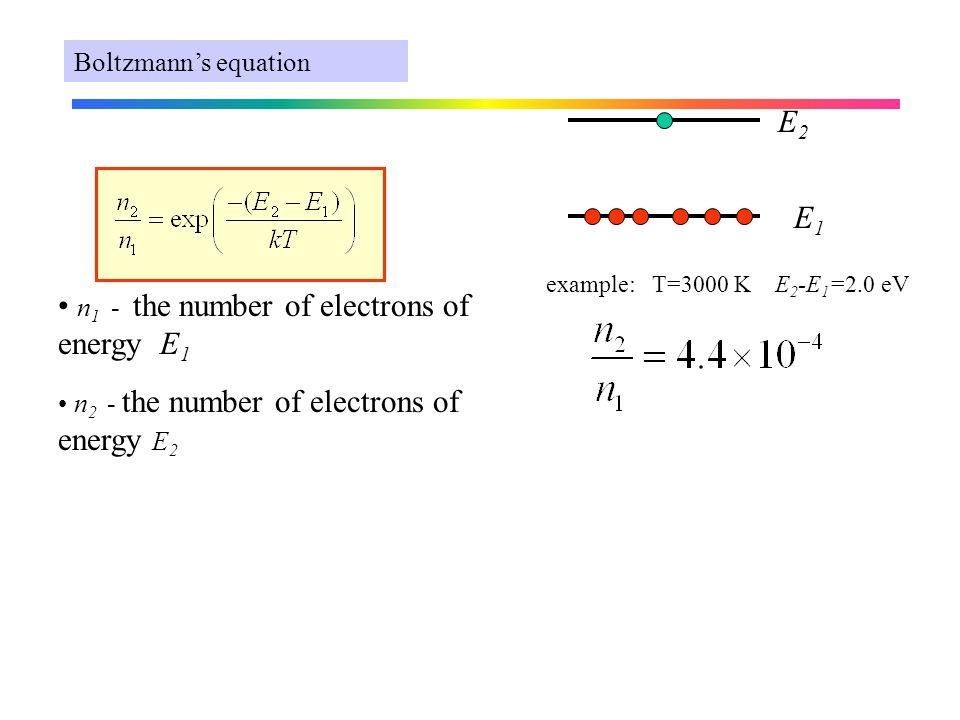 E1E1 E2E2 n 1 - the number of electrons of energy E 1 n 2 - the number of electrons of energy E 2 Boltzmann's equation example: T=3000 K E 2 -E 1 =2.0 eV