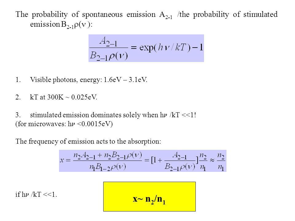 The probability of spontaneous emission A 2-1 /the probability of stimulated emission B 2-1  (  : 1.Visible photons, energy: 1.6eV – 3.1eV.