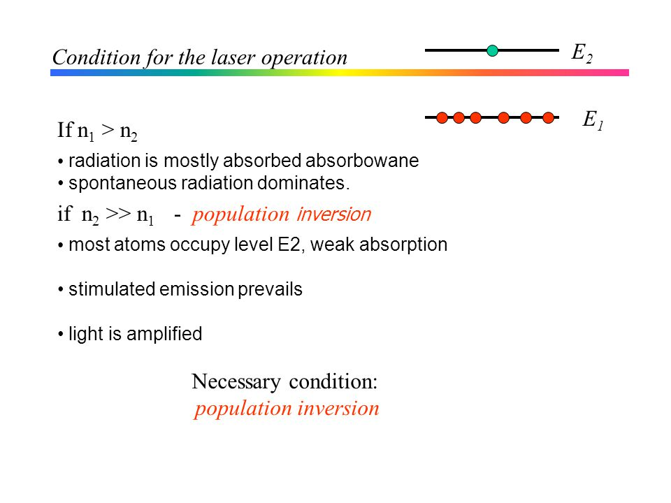 Condition for the laser operation If n 1 > n 2 radiation is mostly absorbed absorbowane spontaneous radiation dominates.