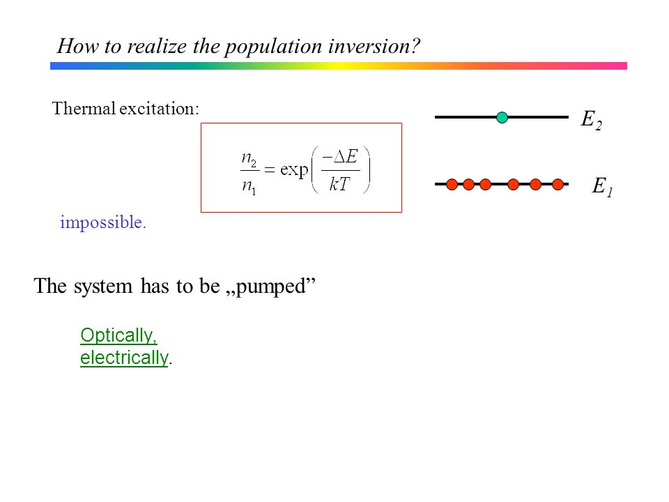 How to realize the population inversion. Thermal excitation: Optically, electrically.