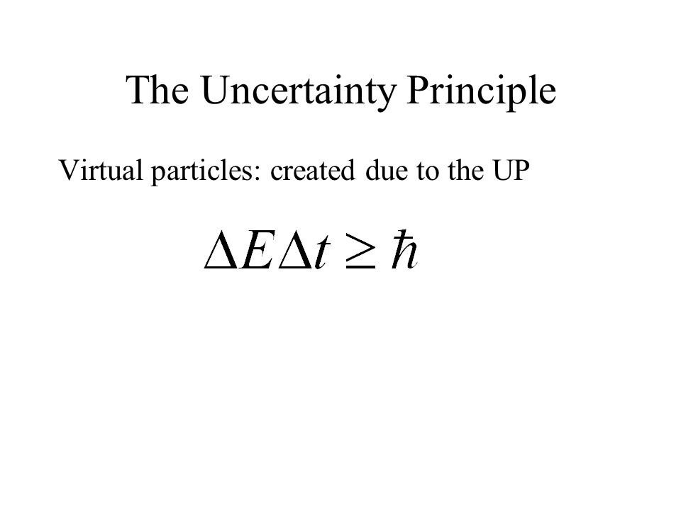The Uncertainty Principle Virtual particles: created due to the UP