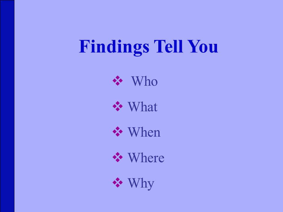 Findings Tell You  Who  What  When  Where  Why