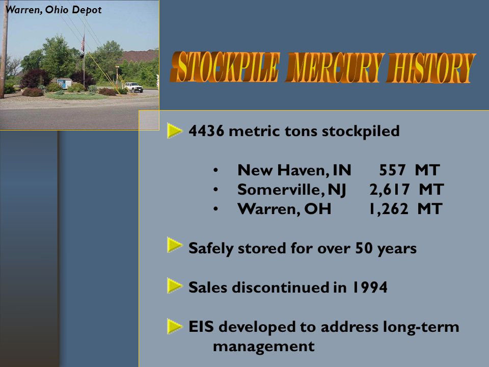 ECOS Resolutions  Mercury Retirement and Stockpiling Long term storage of Hg is a federal responsibility Federal agencies should recommend a plan to manage the long-term storage of mercury by January 2006 States and chlor-alkali industry should be involved in creating plan
