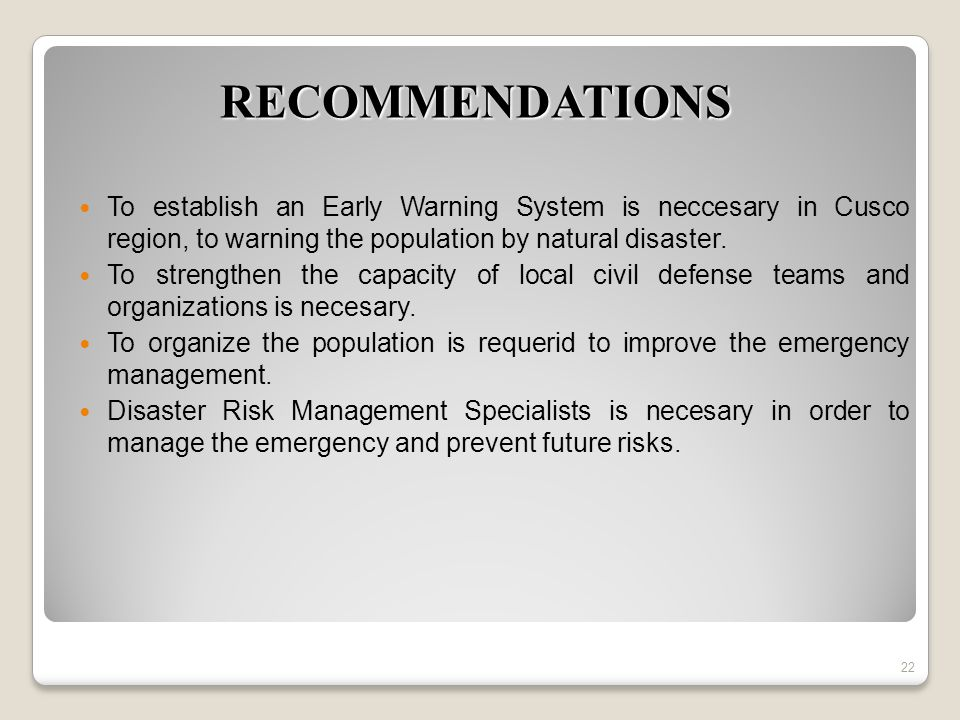 To establish an Early Warning System is neccesary in Cusco region, to warning the population by natural disaster.