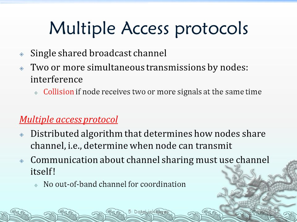 Multiple Access protocols  Single shared broadcast channel  Two or more simultaneous transmissions by nodes: interference  Collision if node receiv
