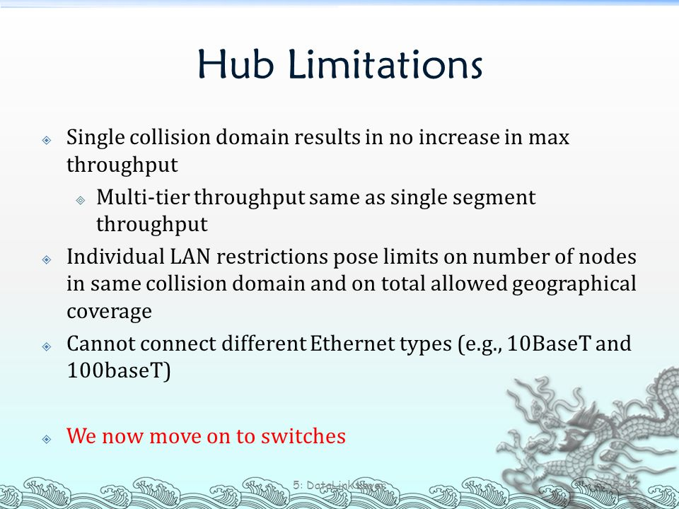 Hub Limitations  Single collision domain results in no increase in max throughput  Multi-tier throughput same as single segment throughput  Individ
