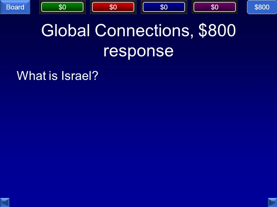 $0 Board Global Connections, $800 response What is Israel $800