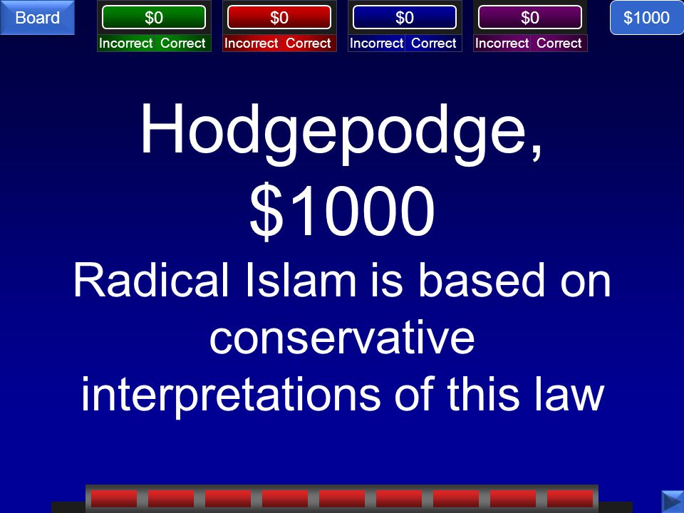 CorrectIncorrectCorrectIncorrectCorrectIncorrectCorrectIncorrect $0 Board Hodgepodge, $1000 Radical Islam is based on conservative interpretations of this law $1000