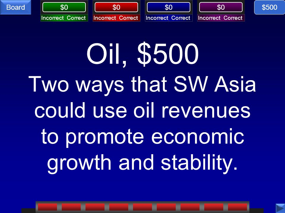 CorrectIncorrectCorrectIncorrectCorrectIncorrectCorrectIncorrect $0 Board Oil, $500 Two ways that SW Asia could use oil revenues to promote economic growth and stability.