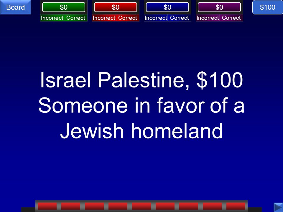 CorrectIncorrectCorrectIncorrectCorrectIncorrectCorrectIncorrect $0 Board Israel Palestine, $100 Someone in favor of a Jewish homeland $100
