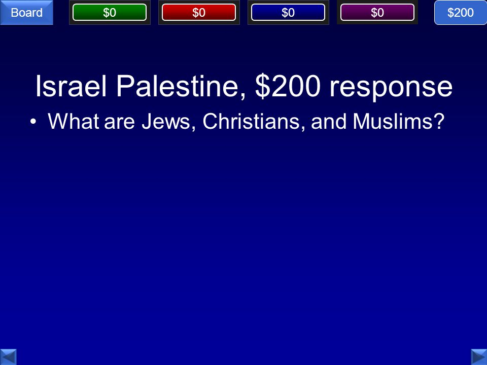 $0 Board Israel Palestine, $200 response What are Jews, Christians, and Muslims $200