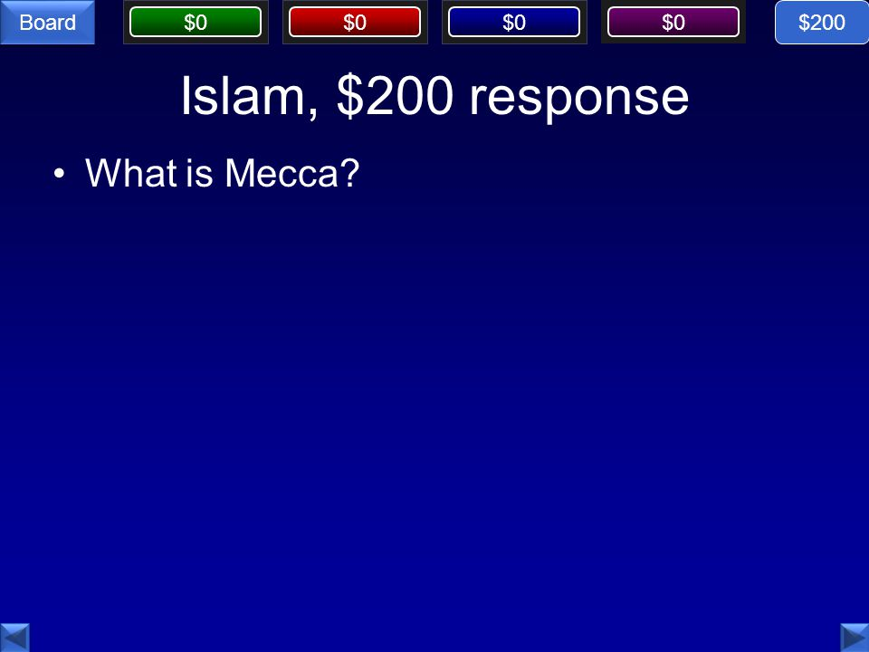 $0 Board Islam, $200 response What is Mecca $200