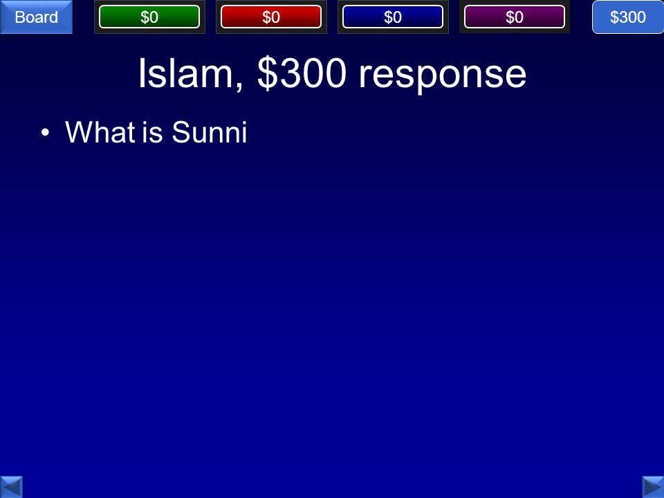 $0 Board Islam, $300 response What is Sunni $300
