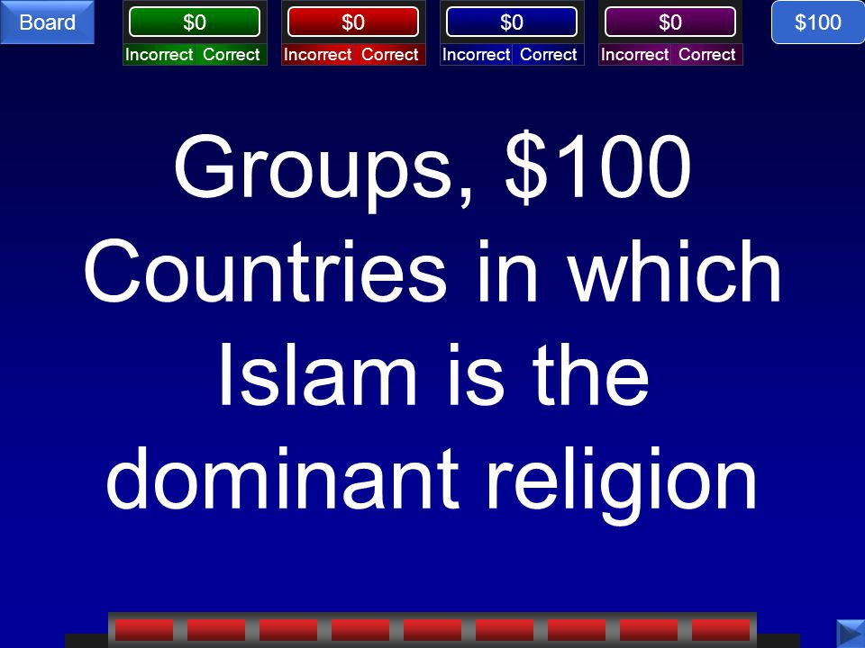 CorrectIncorrectCorrectIncorrectCorrectIncorrectCorrectIncorrect $0 Board Groups, $100 Countries in which Islam is the dominant religion $100